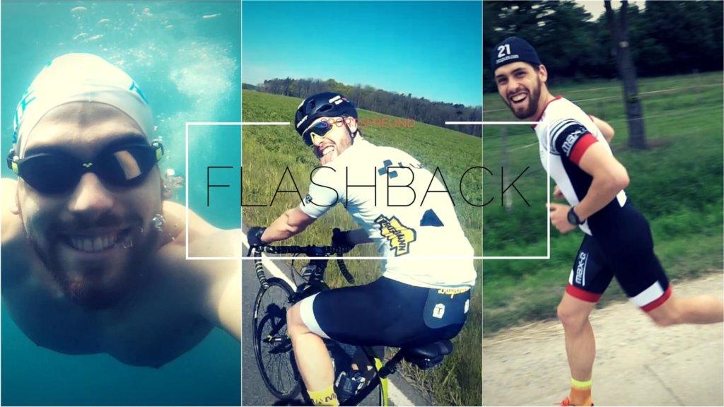 Ein Triathlet beim Schwimmen, Radfahren und Laufen
